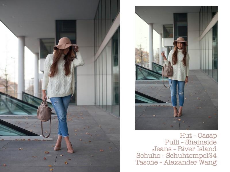 Weißer Pulli, Hut, Jeans