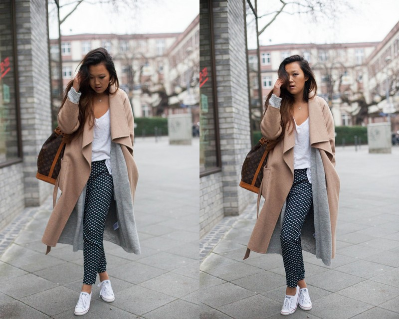 grey, camel coat, krabbenhose
