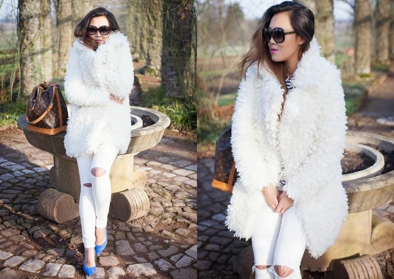 140215 Februar Edited Felljacke, Streifenshirt, Topshop Jeans